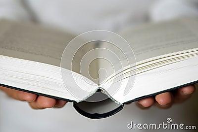 Open book in hands