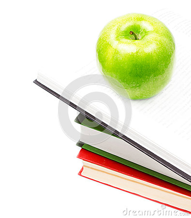 Free Open Book Heap And Green Apple On Top Over White Background. Con Royalty Free Stock Images - 32825099