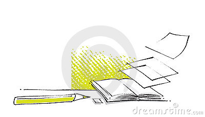 Open book icon, stylized design, freehand drawing