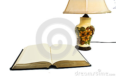 Open book with lamp