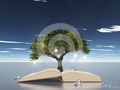 Open book light bulb tree