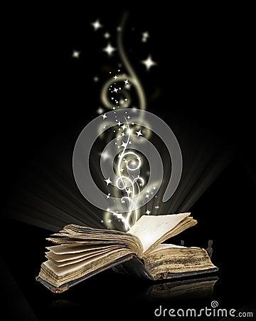 Open book magic on black