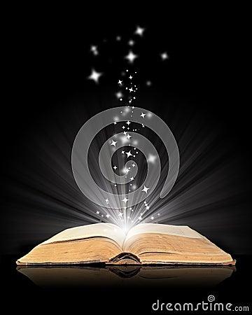 Free Open Book Magic On Black Royalty Free Stock Photo - 7557175