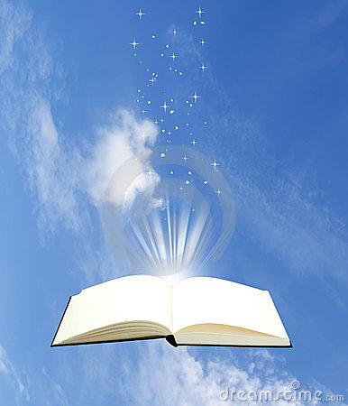 Open book magic on sky background
