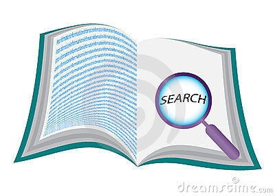 Stock Image: Open book with magnifying glass. Image: 23533301