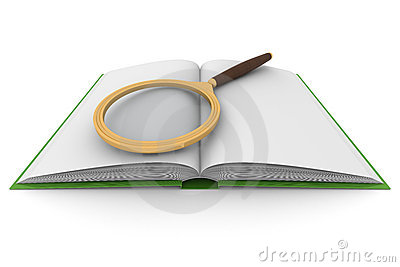 Open book and magnifying glass on white background