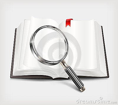 Open book and magnifying glass on white