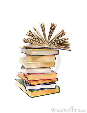 Open Book On A Pile Of Books On A White Background Stock Photo - Image: 20147530