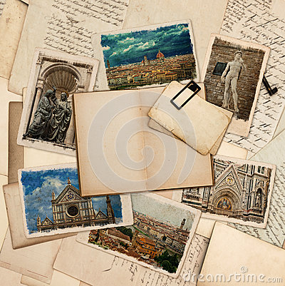 Open book, postcards with pictures of florence