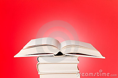 Open book on red