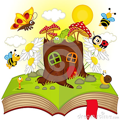 Free Open Book With House Stump And Insects Royalty Free Stock Photos - 50957278