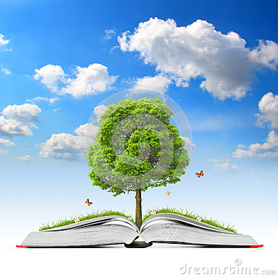 Free Open Book With Tree And Grass Royalty Free Stock Photos - 34251218