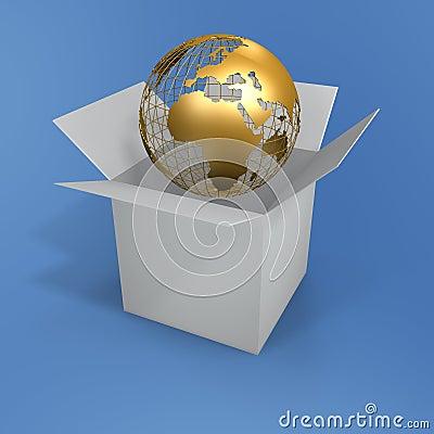Free Open Box And Globe Stock Photos - 898173