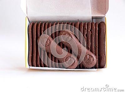 Open box of chocolate wafers