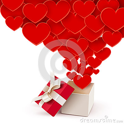 Open box with flying hearts