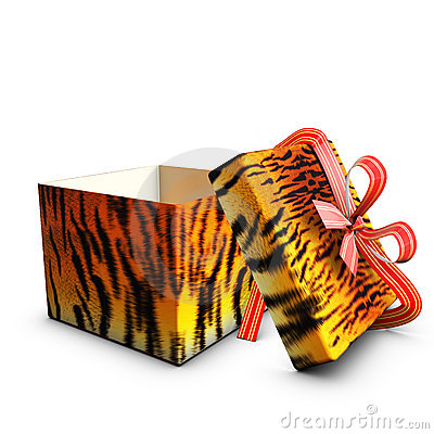 Open box gift tiger tape red