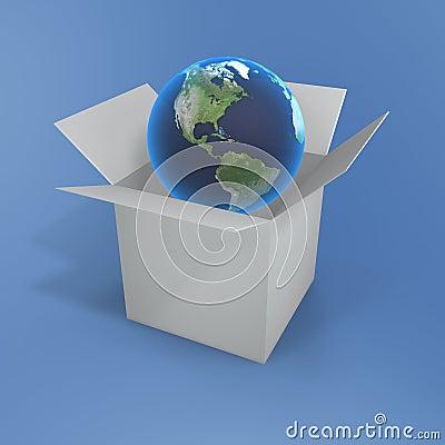 Open box and globe