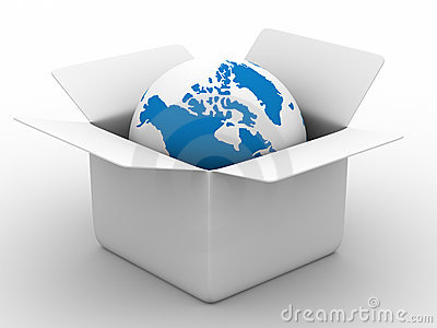 Open box with globe on white background