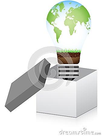 Open box with lightbulb inside