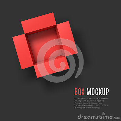 Free Open Box Mockup Template. Top View Stock Image - 49721481