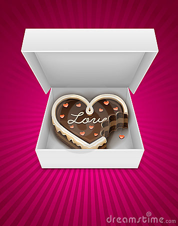Open box with nibbled chocolate cake in heart form