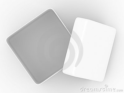 Open box on white background. top view