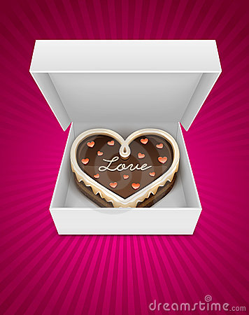 Free Open Box With Chocolate Cake In Heart Form Stock Photo - 22886230