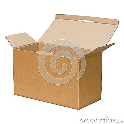 Open brown paper box