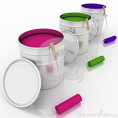 Open bucket with color paint