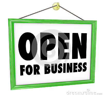 Open for Business Sign Hanging Store Window Door