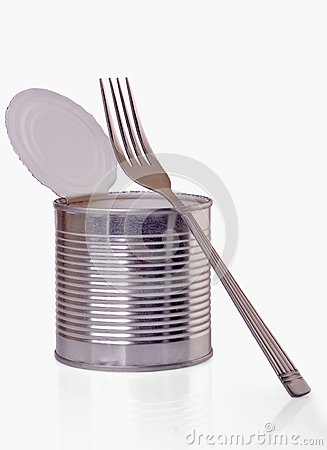 Open a can with  fork