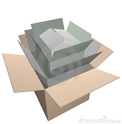 Open cardboard boxes stacked