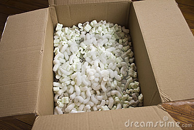 Open Carton with packing peanuts