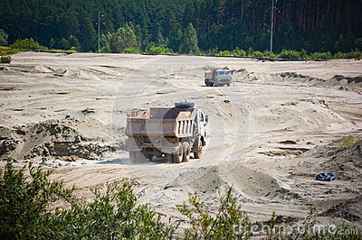 Open cast mine pit.
