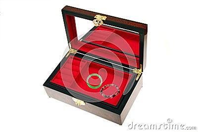 Open Chinese jewelry box