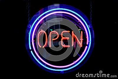 OPEN circle neon sign