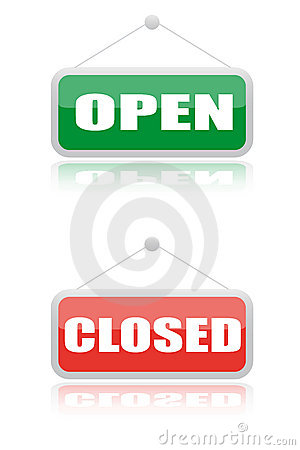 Open and close signboard of shops