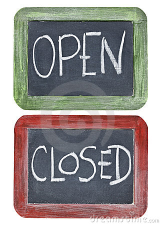 Open and closed on blackboard