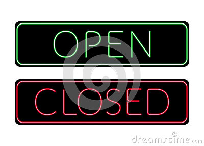 Open And Closed Door Neon Sign Stock Vector Image #2: open closed door neon sign print light symbol store shop cafe hotel office information icon bright green red