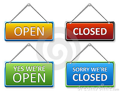 Open and closed door sign