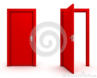 Open And Closed Doors Stock Photo - Image: 68193281