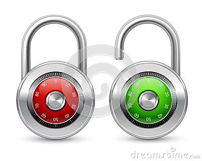 Open and closed realistic lock icon Vector Illustration