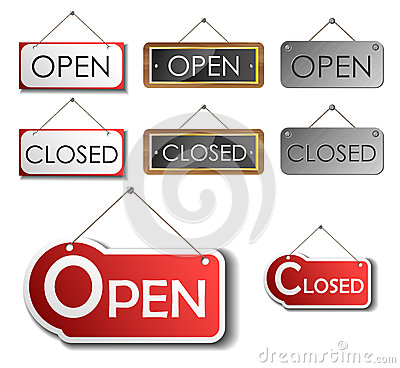 Open and closed sign set