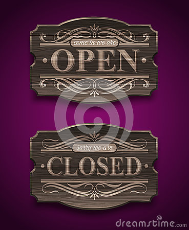 Open and Closed wooden vintage signs