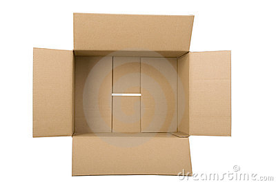 Open corrugated cardboard box