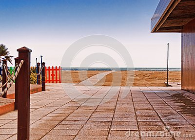 Open courtyard at a beachfront property