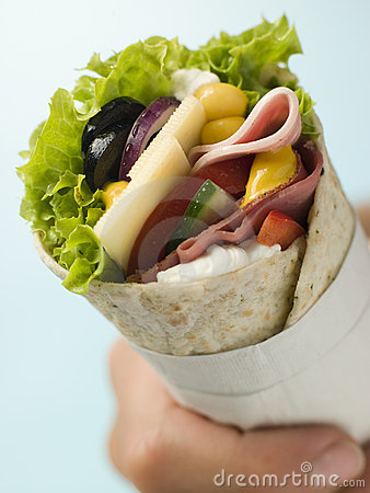 Free Open Deli Tortilla Wrap In A Napkin Royalty Free Stock Photos - 5576938