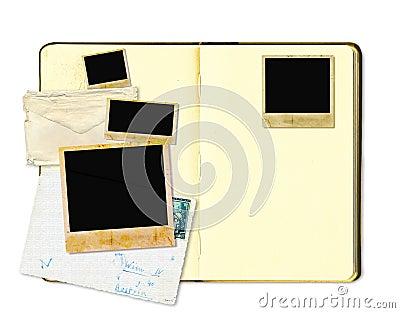 Open diary book or photo album