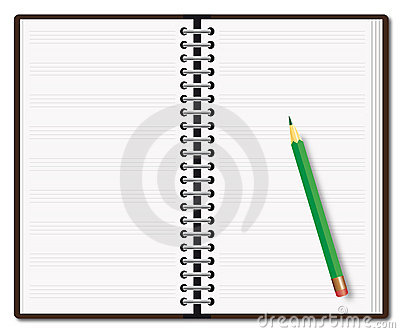 Open diary with a pencil