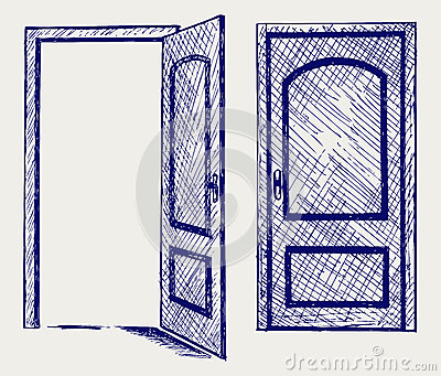 Cartoon open door open door doodle style